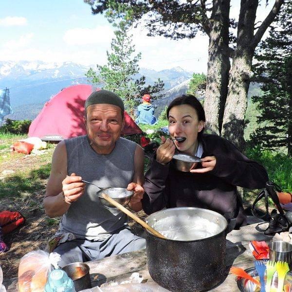 Поход на Ачешбок и Большой Тхач, завтрак в лагере